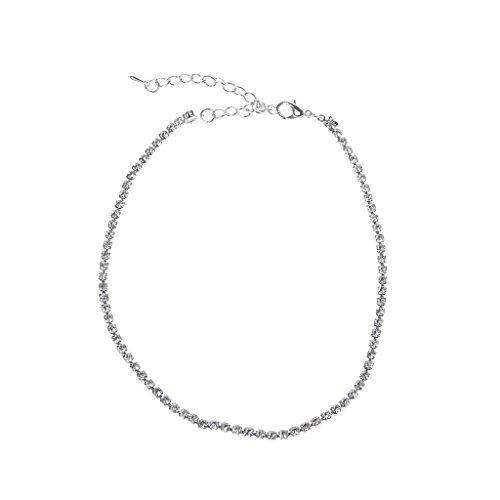 Ixkbiced Collar de Cuello Redondo, Collar de Cristal, Diamantes de imitación Minimalistas, joyería de Boda, graduación, Boda