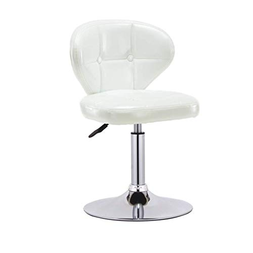 Krukstoel met PU-zitting, in hoogte verstelbare gasdrukregelaar, 38-54 cm, voor keuken, ontbijt, restaurant, kroeg, barkruk, verchroomde plaat draagkracht 150 kg (kleur: wit) Wit