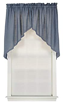 Connemara 72 Inches Wide x 38 Inches Long Linen and Polyester Swag Curtain Blue