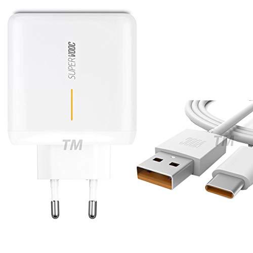 TELEFONMAX SUPER VOOC (2019 er Version) GAN Schnellladegerät Netzteil Ladekabel Datenkabel kompatibel mit Oppo Find X2/X2 Pro/Oppo Find X2 Neo/X2 Lite/A92/A92s/A91/A72/A52