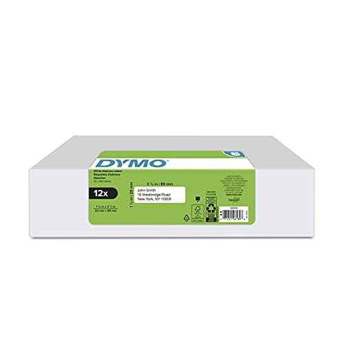 """DYMO Authentic LabelWriter Mailing Address Labels for LabelWriter Label Printers (30252), White, 1 1/8"""" x 3 1/2"""", 12 rolls of 350"""