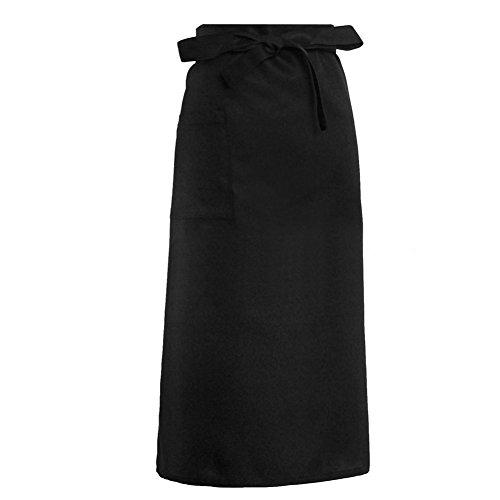 ZOOMY Grembiuli da Cucina Uniformi a Mezza Lunghezza Vita Lunga Grembiule Catering Chef Camerieri Ristorante Cooking Dress Gift - Nero