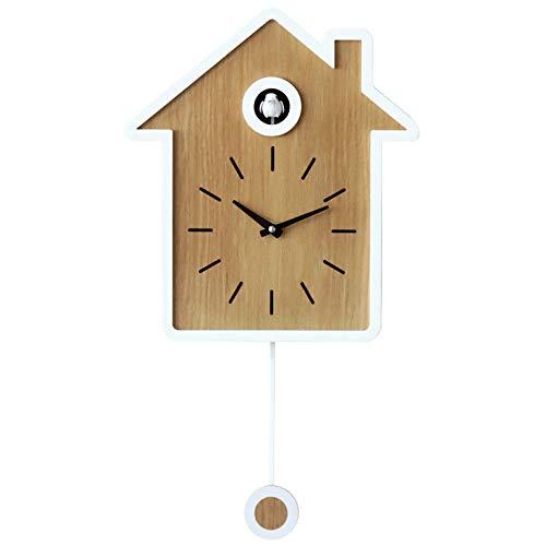 LIYACK Clock Kuckucksuhr,Schwarzwaldhaus Mit Pendel Wanduhr Design Modern Pendeluhr Kuckuck Uhr Holz Zeit Nachtruhe Chronometer,White