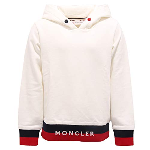 Moncler 9234AA Felpa Bimbo Boy White Cotton Hoodie Sweatshirt [6 Years]