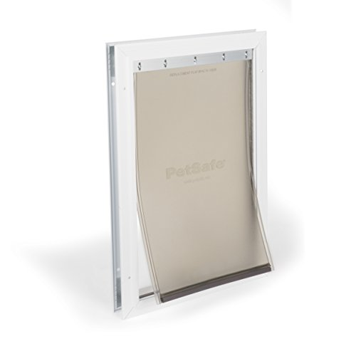 PetSafe Freedom Aluminum Dog and Cat Door with Durable White Frame and Tinted Vinyl Flap, Indoor and Outdoor, Easy to Install, Large and X-Large