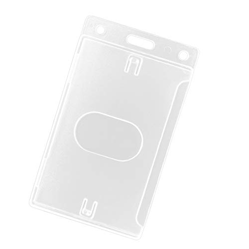Fallen One 2 Pack Hard Plastic ID Badge Holder Vertical Card Holder with Thumb Slots
