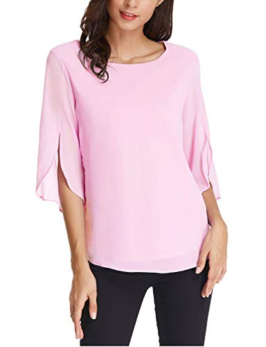 GRACE KARIN Women's 3/4 Petal Sleeve Chiffon Blouse Size 2XL Pink