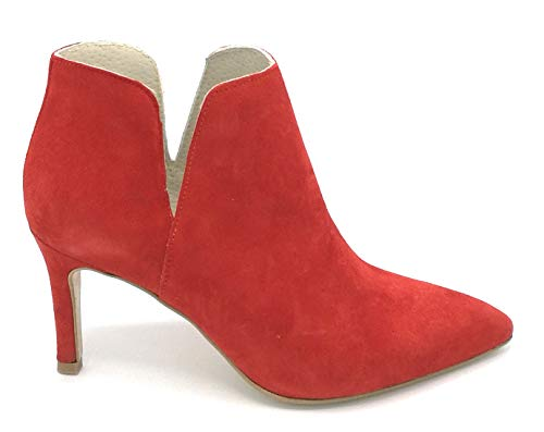 DEBUTTO D7305 suède laarzen rood hak 7 cm - schoen 40 kleur rood