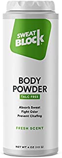 SweatBlock Body Powder for Women and Men, Talc-Free Cornstarch Powder for Deodorizing, Moisture Absorption and Staying Fresh. - 4 oz