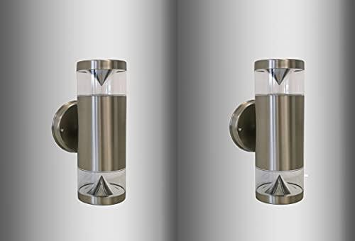 Trango 2er Pack 8003 IP44 Alu Up & Down Wandlampe mit 2x GU10 Fassung für LED Leuchtmittel - Wandstrahler Edelstahl gebürstet in Rund als innen & außen - Außenwandleuchte, Außenstrahler, Wandstrahler