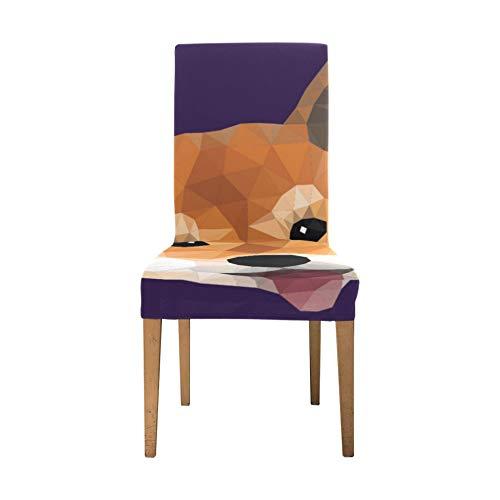 Cojines para sillas de Comedor Colorful Shiba Inu Cute Puppy Dog Fundas para Asientos de Comedor Fundas para sillas elásticas Suaves Fundaspara sillas extraíbles Funda