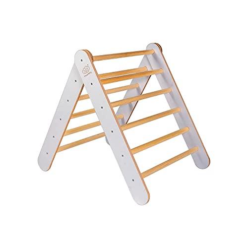 MEOWBABY Triángulo de Escalada de 70x80 cm de Madera Escalada de Madera Bebé Habilidades Pikler Triangle Montessori Waldorf Motoras para Niños Made in UE Gris