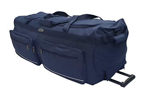 Borsa da viaggio morbida valigia sportiva trolley grande con ruote. Taglia L-100L, XL-115L, XXL-150L, XXXL-200L. Nero e Blu (Blu, 100L)
