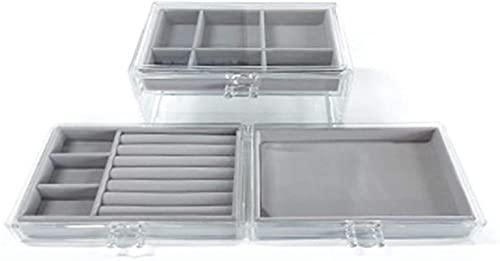 Caja de joyería WHXL con 3 cajones, caja de almacenamiento de joyas de terciopelo, usado para almacenar pendientes, pulseras, collares y anillos de joyería