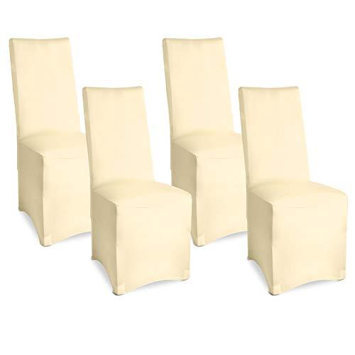 Beautissu Bankett Stuhlhussen 4er Set 45x90 cm - Leona Elegante Stretch Hussen für Stühle -Elastische Stuhl Überzüge im Set mit ÖKO-TEX Siegel in Ecru