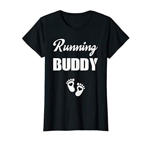 Womens Pregnancy Announcement Gender Running Buddy Pouch Boy Girl T-Shirt