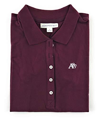 AEROPOSTALE Women's Polo Shirt Small Burgundy w White 607