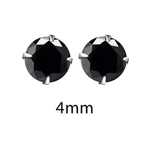 LPZW 925 Plata de Ley Pendientes de la Moda de Cristal de óxido de zirconio de joyería de Las Mujeres Accesorios circón cúbico de Piedra BLE0285 (Gem Color : Black 4mm)