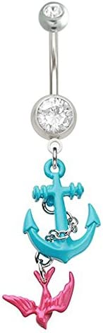 Blue & Pink Anchor Swallow bird Nautical boating dangle Belly button navel Ring piercing bar body jewelry 14g