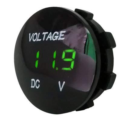 Aofan Digital Spannungsmesser Messgerät Tester mit LED-Anzeige Für Auto Motorrad LKW(Grün) DC 12V 24V Wasserdichtes