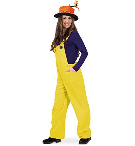 KarnevalsTeufel Kostüm Latzhose Handwerker Bauarbeiter Gärtner Zwerg für Erwachsene (Medium, Gelb)