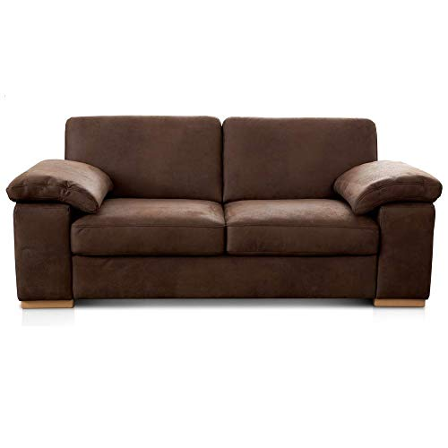 Cavadore 3-Sitzer Sofa Ventere / Kleine Couch in Wildlederoptik / 200 x 86 x 100 cm (BxHxT) / Dunkelbraun