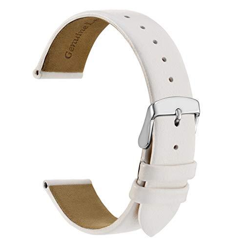 WOCCI 18mm Elegante Correa de Reloj de Cuero con Hebilla Plateada (Blanco)