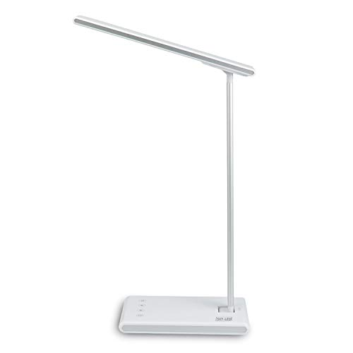 Lámpara de escritorio LED, lámpara de mesa de cuidado de ojos, lámpara de noche regulable con puerto de carga USB, 3 modos de color x 5 niveles, control táctil, para el hogar [Clase energética A++]