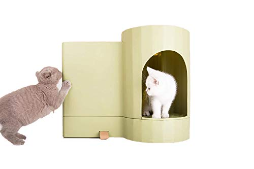 Litter Box Enclosure for Easier Handling of Cat Litter, Enclosed Design, Easy to Clean, Prevent Sand Leakage, Easy Assembly and Large Space, with Cat Litter Scoop and Motion-Sensor Light (Green)