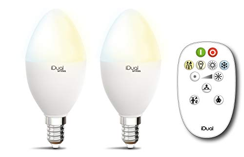 Set van 2 LED-lampen iDual Whites 45 mm fitting E14 met afstandsbediening