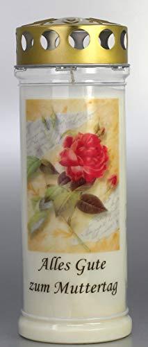 Kerzen Junglas Grablicht, Grabkerze Muttertag, Größe 21x7,5 cm - Brenndauer ca. 7 Tage – Elegante Gedenkkerze, Trauerkerze mit Spruch. (3823)
