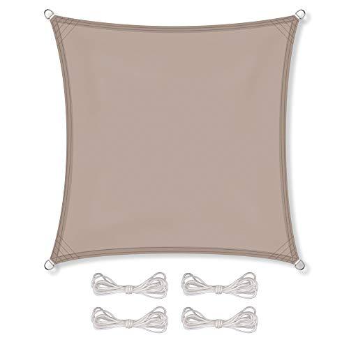 Preisvergleich Produktbild CelinaSun Sonnensegel inkl Befestigungsseile PES Polyester wasserabweisend imprägniert Quadrat 5, 6 x 5, 6 m Taupe
