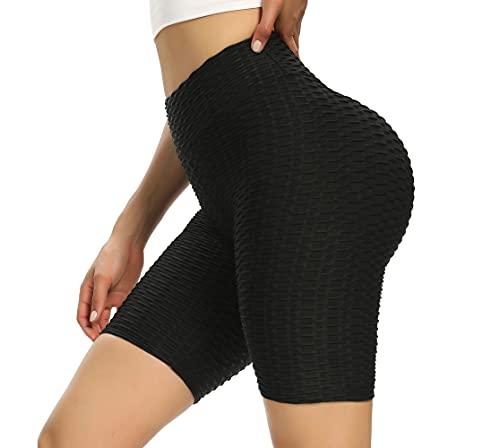 BOTRE Pantalones Cortos Deportivos Mujer Leggins Push Up Mallas Deporte Leggings Fitness Pilates Workout Yoga Training Pantalón Anticeluliticos Cintura Alta Deportivas Shorts (Negro, M)