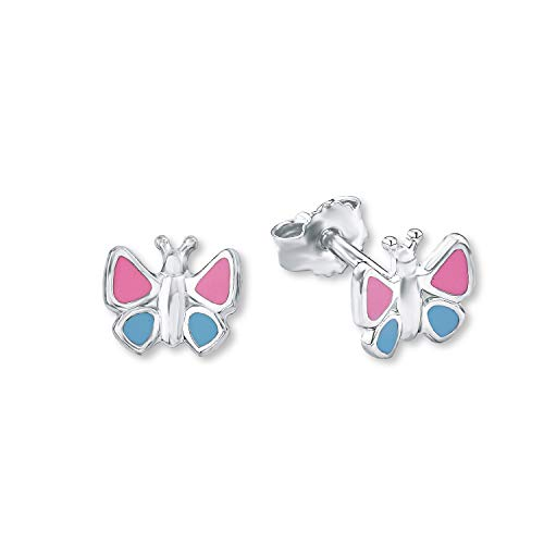 amor Ohrstecker für Mädchen 8 mm Schmetterling 925 Sterling Silber blau rosa lackiert
