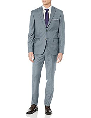 DKNY Men's All Wool Slim Fit Suit, Grey Twill, 38 Regular from DKNY