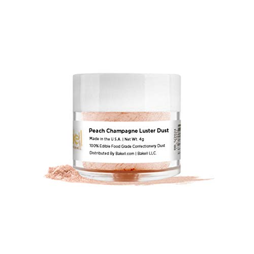 BAKELL Peach Champagne Edible Luster Dust & Paint, 4 Gram | LUSTER DUST Edible Powder | KOSHER Certified Paint, Powder & Dust | 100% Edible & Food Grade| Cakes, Vegan Paint & Dust (Peach Champagne)