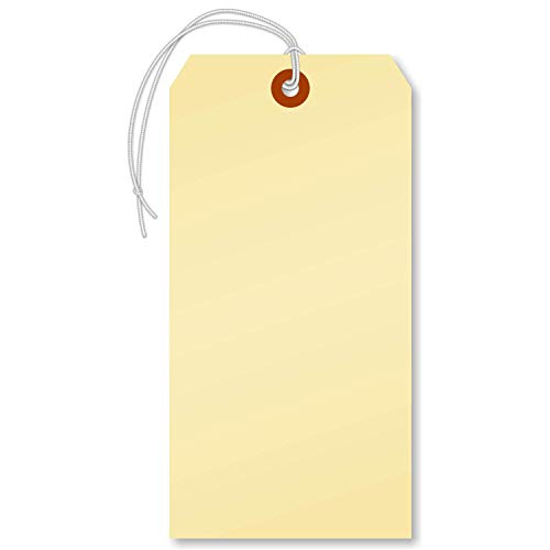 SmartSign Blank Manila Shipping Tags with Elastic, Size #8   13pt Cardstock Tags, 6 1/4