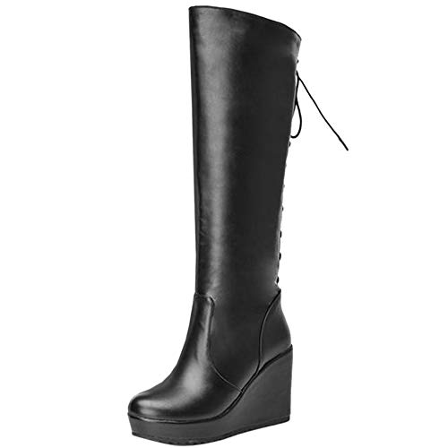COOLCEPT Damen Stiefel Classic Keilstiefel Winter Lange Stiefel Buro Keilabsatz High Stiefel Plateau Black Gr 36 Asian