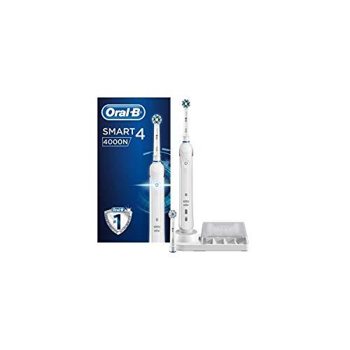 Oral-B Smart 4 4000N Spazzolino Elettrico Ricaricabile , 1 Spazzolino Bianco Connesso con Bluetooth, 2 Testine di Ricambio, 1 Custodia da Viaggio, Idea Regalo Festa del Papà