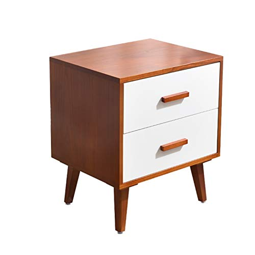 BIAOYU Bedside Table Nordic Bedside Table Nightstand with 2 Drawers and Solid Wood 4 Legs,End Table Side Table Square Locker for Bedroom Furniture Nightstand (Color : A, Size : 45cm)