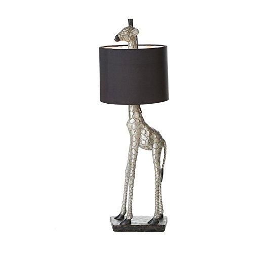 DAFLOXX XL Geniale Tischlampe Giraffe Schwarz Silber 87cm Tier Lampe Tischleuchte