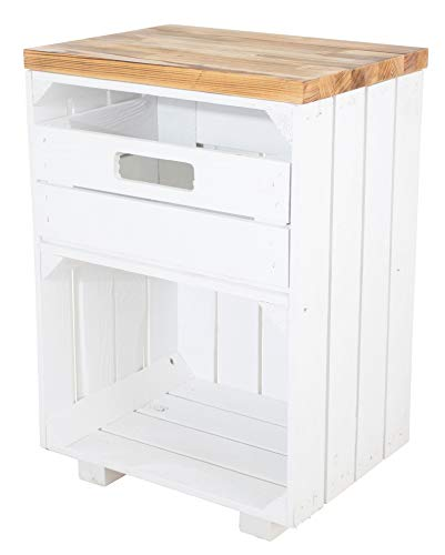 Vintage Möbel 24 GmbH Nachttisch Holzkisten mit Schublade, als Beistelltisch zur Aufbewahrung, DIY Wohnzimmer, neu, 40x57x30cm (Weiß/Geflammt)