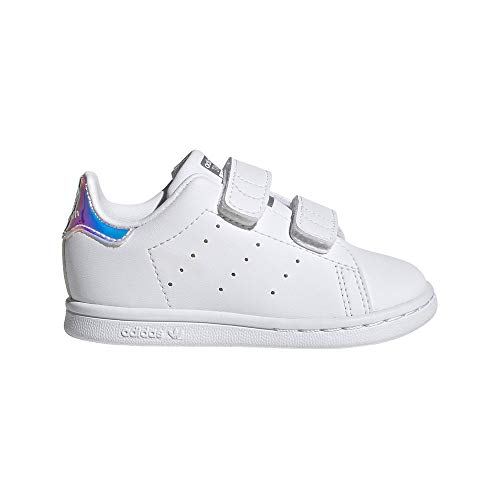 adidas Stan Smith CF, Sneaker Unisex bebé, Footwear White/Footwear White/Silver Metallic, 19 EU