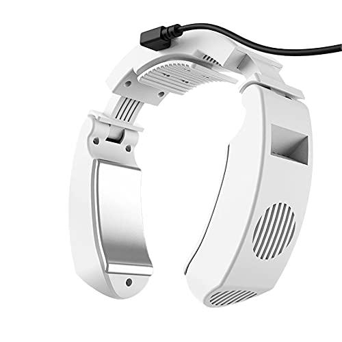 WEFH Ventilador de Cuello Manos Libres Sin Cuchillas Ventilador Personal portátil Sin Hojas Ventilador de Cabeza Plegable, Blanco