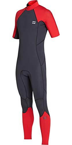 BILLABONG para Hombre Horno de 2 mm Absolute Back Zip Traje de Manga Corta Rojo - Calor térmico cálido Capas de Capa Forro del Horno
