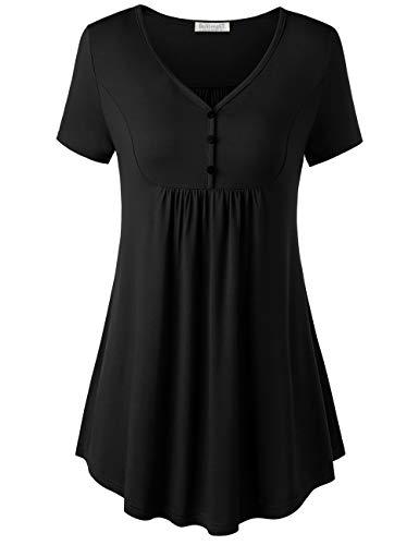BAISHENGGT Damen Henleyshirt Longtee V-Ausschinitt Tunika Vintage Basic Schwarz XL