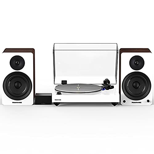 Fluance Reference RT85 High Fidelity Vinyl Turntable (White), PA10 Phono Preamp, Ai61 Powered 6.5