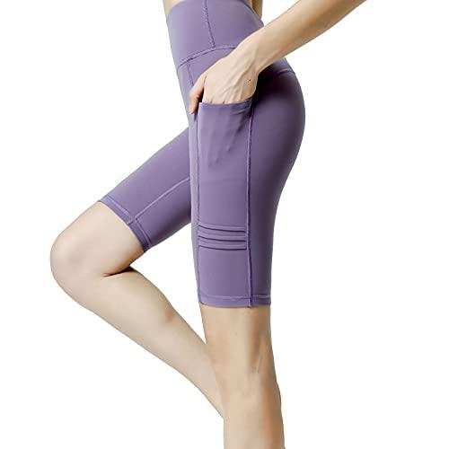 Shorts de Yoga Mujer para Mujer con Bolsillos Deporte Control Barriga Sin Costuras Elástico de Alta Cintura Transpirable para Verano Ciclismo Fitness Yoga,Púrpura,M