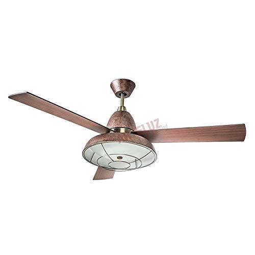 Ventilador de techo estilo VINTAGE marron 3 velocidades reversibles. Mando a distancia LEDS C-4