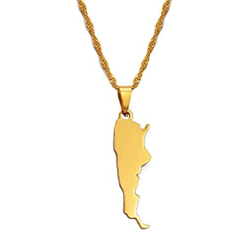 Collar Colgante Unisex,Mujeres Charm Argentina Mapa Oro Colgante Cadena Joyas, Hombres Moda Simple Regalos Étnicos Para Fiestas Ropa Personalizada Accesorio-China Personalizado, Cadena Delgada De 60